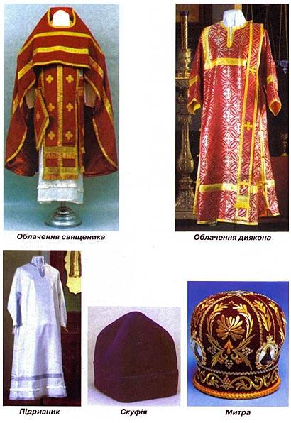 Священнослужителі та їхні священні одежі (облачения)